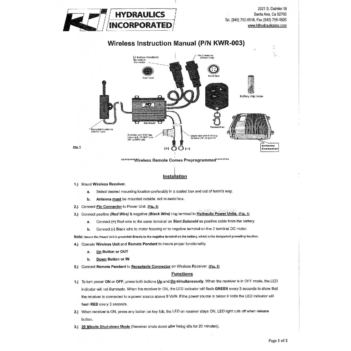 KTI Wireless Remote New - Kti hydraulic pump wiring diagram